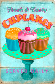 Photo of CUPCAKES, FRESH & TASTY  SERVED DAILY THIS ENAMEL SIGN HAS SUPER RICH COLORS AND VERY NICE GRAPHICS
