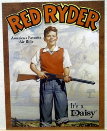 Photo of DAISY RED RYDER AD FOR THE BB GUN EVERY BOY WANTED (AND MOST NEVER GOT CAUSE THEY MIGHT SHOOT THEIR EYE OUT!) CRISP COLOR AND GRAPHICS