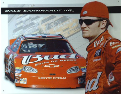Photo of DALE JR. BUDWEISER RACING NASCAR SIGN, THE OLD # 8 CAR IS A PART OF HIS RACING HISTORY... WITH GREAT COLOR AND SUPER GRAPHICS, A PART OF JR'S PAST. THIS SIGN IS OUT OF PRINT BUT WE STILL HAVE SEVERAL LEFT