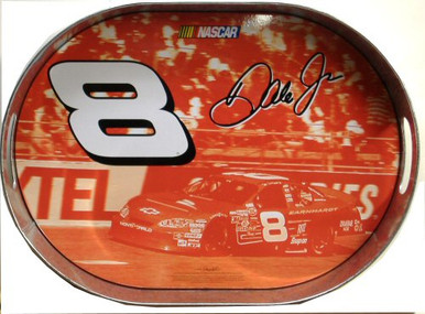 Photo of DALE JR. OVAL TRAY GREAT COLOR AND GRAPHICS THIS # 8 NASCAR TRAY IS OUT OF PRINT BUT WE HAVE SEVERAL LEFT IN STOCK.  IT IS NOW A COLLECTORS PRIZE