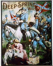 Photo of DEEP SPRING WHISKEY R.E. LEE THIS SIGN HAS CONFEDERATE TROOPS AROUND GENERAL LEE, NOTICE THE C.S.A. ON THE CANTEEN GREAT COLOR AND GRAPHICS