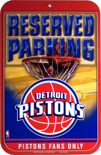 Photo of DETROIT PISTONS PARKING ONLY BASKETBALL SIGN, HAS GREAT COLORS AND CRISP DETAILS AND WILL BE A GREAT ADDITION TO ANY PISTON FAN'S COLLECTION