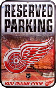 DETROIT RED WINGS HOCKEY RESERVED PARKING SIGN GREAT PISTON GRAPHICS AND RICH COLORS MAKE THIS GREAT FOR ANY AVID PISTON FAN'S COLLECTION
