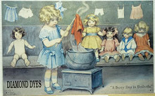 Photo of DIAMOND DYES, GUTMAN, THIS TURN OF THE CENTURY PICTURE OF A CUTE LITTLE GIRL DYING HER DOLL CLOTHES IS VERY CUTE.  THE COLORS ARE REMINISANT OF AN EARLY SIGN