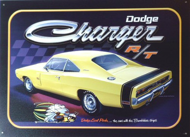 Photo of DODGE CHARGER R/T, YELLOW WITH BUMBLE BEE STRIP ON THE REAR ALONG WITH GREAT COLOR AND DETAIL MAKE THIS A SUPER SIGN FOR THE MOPAR FAN'S COLLECTION