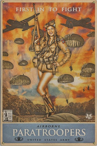 82ND AIRBORNE PARATROOPERS VINTAGE METAL SIGN S/O