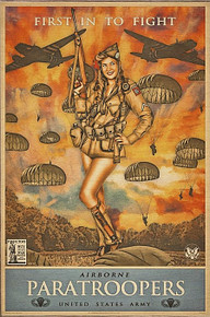 82ND AIRBORNE PARATROOPERS VINTAGE BIRCH WOOD PRINT S/O