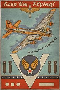 B-17 FLYING FORTRESS VINTAGE BIRCH WOOD PRINT S/O