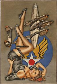 "BEAUTIFUL LIGHTNING ""P-38"" AIR FORCE  VINTAGE BIRCH WOOD PRINT S/O"