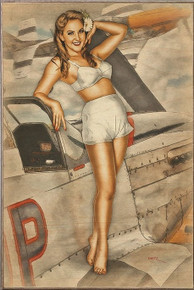 CAN I JOIN YOU VINTAGE  NOSE ART  AIR FORCE  BIRCH WOOD PRINT S/O