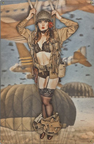 """CAUGHT WITH HER PANTS DOWN VINTAGE """"PARATROOPER"""" METAL SIGN S/O"""