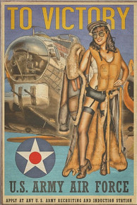 B-17  TO VICTORY VINTAGE AIR FORCE BIRCH WOOD PRINT S/O