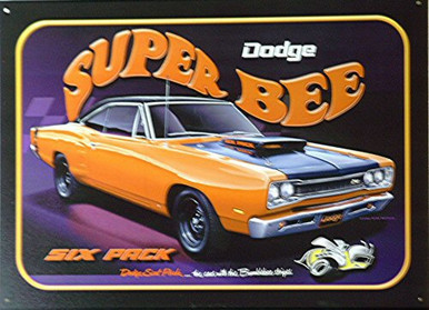 Photo of DODGE  SUPER BEE SIGN THIS RED CAR WITH SUPER WIDE RACING STRIP HAS THE SIX PACK ADVERTISED..GREAT GRAPHICS AND RICH COLORS