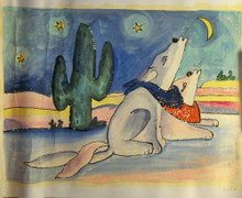 Photo of DOGS HOWLING SMALLL SIZED OIL PAINTING