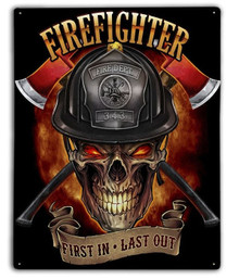 FIREFIGHTER SKULL METAL SIGN S/O