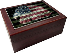 AMERICAN FLAG FIREFIGHTER EAGLE WOOD HUMIDORS/O