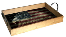 AMERICAN FLAG FIREFIGHTER EAGLE WOOD TRAY S/O