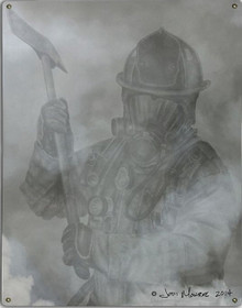 FIREFIGHTER IN SMOKE METAL SIGN S/O
