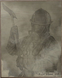 FIREFIGHTER IN SMOKE  BIRCH WOOD PRINT S/O