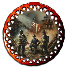 AMERICAN GRACE, 911, FIREFIGHTER GLASS ORNAMENT S/O