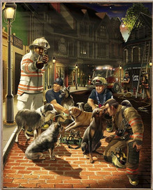 ANIMAL RESCUE, CANINE, FIREFIGHTERS  BIRCH WOOD PRINT S/O