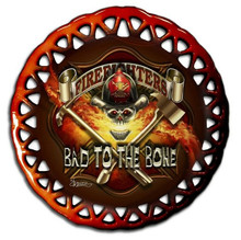 BAD TO THE BONE, FIREFIGHTER GLASS ORNAMENT S/O