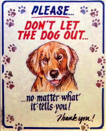 Photo of DON'T LET THE DOG OUT, NO MATTER WHAT IT SAYS SIGN