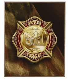 COLORS OF REMEMBRANCE 911 FIREFIGHTER  BIRCH WOOD PRINT S/O