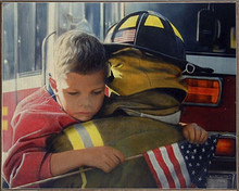 AMERICAN HERO, FIREFIGHTERS  BIRCH WOOD PRINT S/O