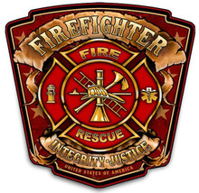 FIREFIGHTER SHIELD  BIRCH WOOD PRINT S/O   NO PIC