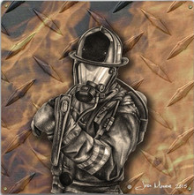 FIRE AXE, FIREFIGHTERS METAL SIGN S/O
