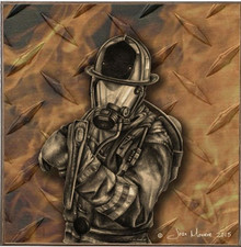 FIRE AXE, FIREFIGHTERS  BIRCH WOOD PRINT S/O