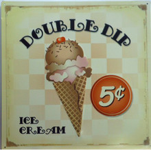 Photo of DOUBLE DIP ICE CREAM CONE FOR 5 CENTS, OLD TIME COLORS AND DETAIL MAKE THIS SIGN LOOK TO BE MUCH OLDER