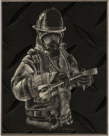 FIREFIGHTERS, HALIGAN  BIRCH WOOD PRINT S/O