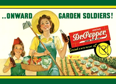 """Photo of DR. PEPPER GARDEN SOLDIERS SHOWS MOTHER AND DAUGHTER IN THEIR """"VICTORY GARDEN"""" WWII ADD"""