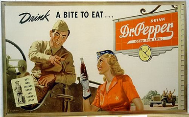 Photo of DR. PEPPER SOLDIER,HAS A SOLDIER IN A JEEP GETTING READY TO HAVE A DR. PEPPER, A WWII ADD