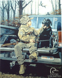 Photo of DUCKS UNLIMITED FOREVER FRIENDS CUTE BOY WITH HIS BEST FRIEND, GREAT COLORS SUPER DETAIL