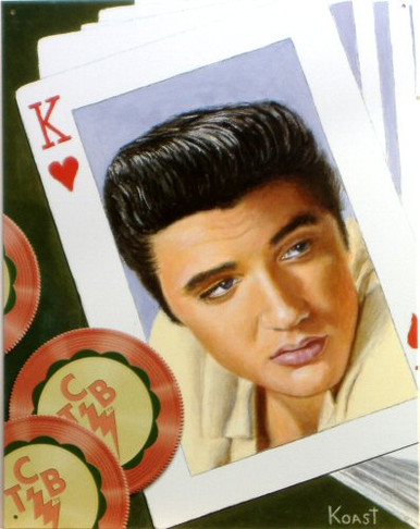 """Photo of ELVIS """"KING OF HEARTS"""" HAS ELVIS ON A KING OF HEARTS CARD WITH """"TCB"""" ON THE CHIPS THIS WARM CARD IS OUT OF PRINT WITH ONLY THREE LEFT"""