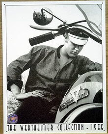 Photo of ELVIS ON HARLEY DAVIDSON MOTORCYCLE BLACK AND WHITE SIGN WITH WARM DETAILS