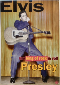 "Photo of ELVIS ""THE KING"" IS AN EARLY PICTURE OF ELVIS PREFORMING WITH COLOR AND DETAILS RIGHT OUT OF THE 1950'S THIS SIGN IS OUT OF PRINT, WE HAVE FOUR LEFT"