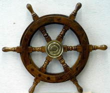 """Photo of 12"""" SHIPS WHEEL, BEAUTIFULLY CRAFTED OF SOLID WOOD AND BRASS, MAKES A GREAT DECORATION OR CAN BE USED FOR MAKING A PLAQUE FOR YOUR FAVORITE NAUTICAL ENTHUSIAST"""