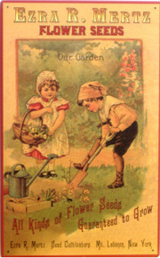 EZRA MERTZ FLOWER SEEDS SIGN OLD FASHION LOOK, A LAD AND LASS ARE PLANTING SEEDS