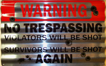 """CORRIGATED METAL SIGN MEASURES 18"""" X 11  1/2""""  X 1""""  WITH HOLES FOR EASY MOUNTING"""