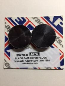 Kawasaki Z1, KZ900/1000 APE Cam End Plug Set. Black Anodized Finish. 1973-1980