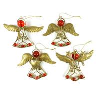 Glitter Angel Christmas Hangers Gold - Set of 4
