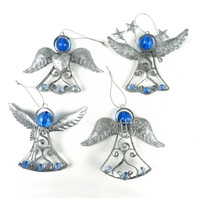 Glitter Angel Christmas Hangers Silver - Set of 4