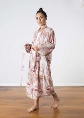 Fern Flower Pink and Grey Kimono