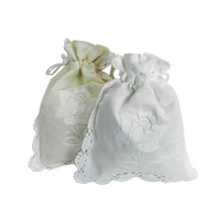 Set of 2 Rose Emb White and Cream Giftbag