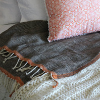 Herringbone Rust Border 100% Wool Throw  130X170cm