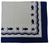 Blue Fish on White Table Cloth Cotton 130X130cm